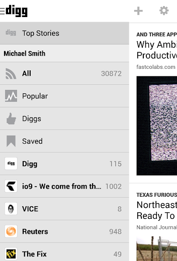 Screenshot 1 for Digg's Android app'