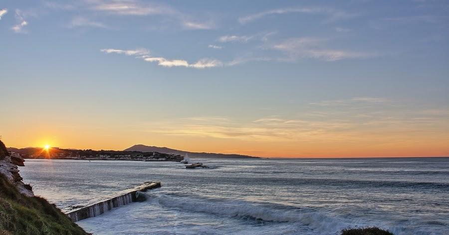 Bay of St. Jean de Luz - France by Marcel de Groot - Landscapes Waterscapes ( orange, blue, ocean, france, atlantic, st. jean de luz )