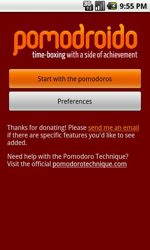 Pomodroido: A Pomodoro Timer- screenshot
