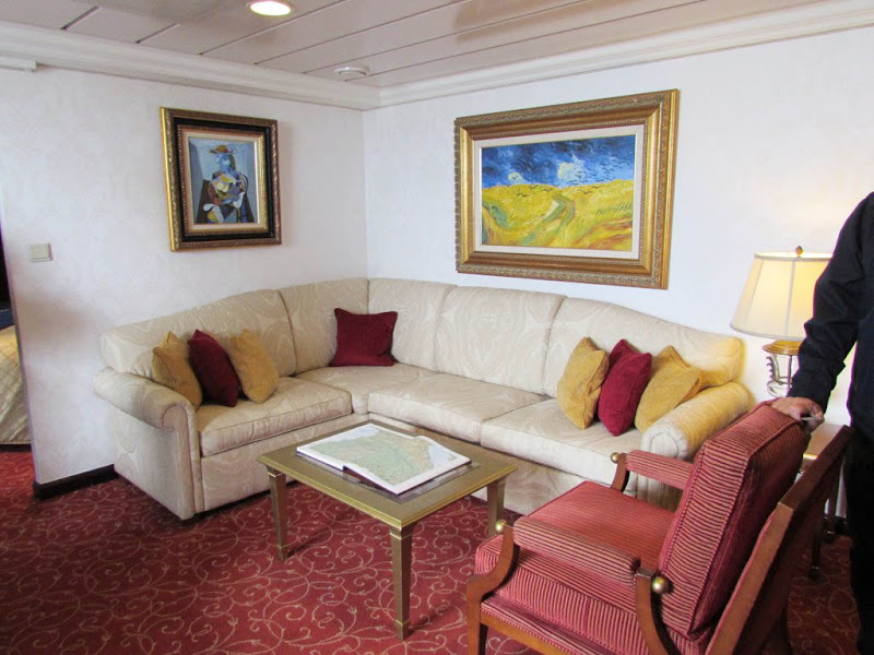 A look at the living area in the Vista Suite aboard Oceania Regatta.