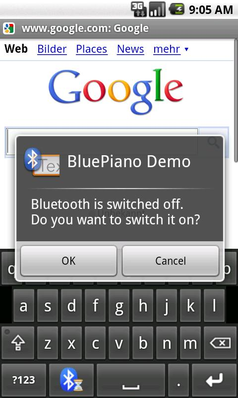 BluePiano Bluetooth Wedge Demo - screenshot
