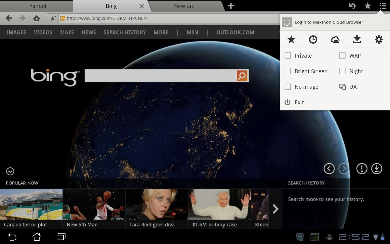 Maxthon Browser for Tablet - screenshot