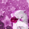 Kitten With Pink Rose For You logo