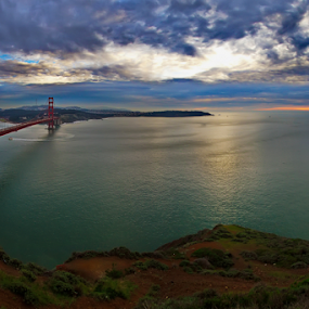 The Calm Before the Bay Storm by Doug Redding - Landscapes Waterscapes ( golden gate bridge, san francisco bay, san francisco,  )