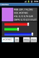 Screenshot of Color Hex RGB HEX CMYK Codes