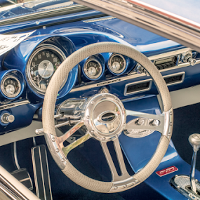 Driver's Seat by Frank Matlock II - Transportation Automobiles ( bel air, detail, blue, white, restored, chevy )