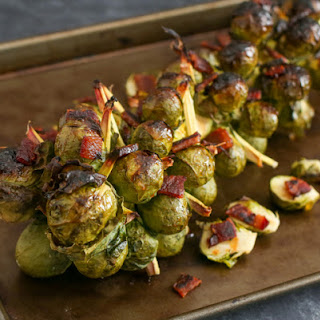 Roasted Bacon Honey Sriracha Brussels Sprouts on the Stalk.