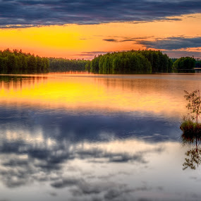 Davidssjö by Colin Harley - Landscapes Waterscapes ( water, orange, reflection, sunset, trees, lake, yellow, nikon )