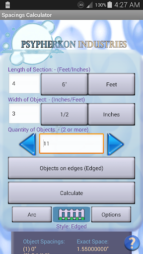 Spacings Calculator