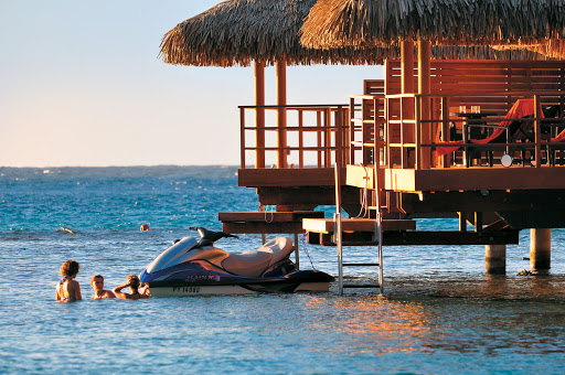 Gotta love the overwater bungalows and water activities — diving, kayaking, jet skiing — during a Paul Gauguin visit to the InterContinental Resort Moorea.