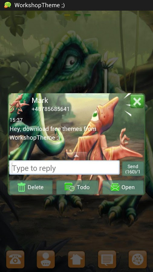 GO SMS Pro Theme dinosaur- screenshot