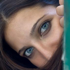 Enchanting blue eyes by Goran Kojadinovic - People Portraits of Women ( frame, girl, woman, blue eyes, hair, portrait,  )