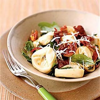 Mushroom Tortellini with Arugula and Crispy Prosciutto.