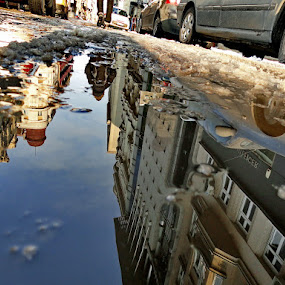 In the winter puddle by Zoran Nikolic - City,  Street & Park  Street Scenes ( reflection, puddle )