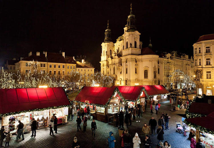 The renowned Christmas Markets of Prague, the Czech Republic, are centered around the Old Town Square and Wenceslas Square.