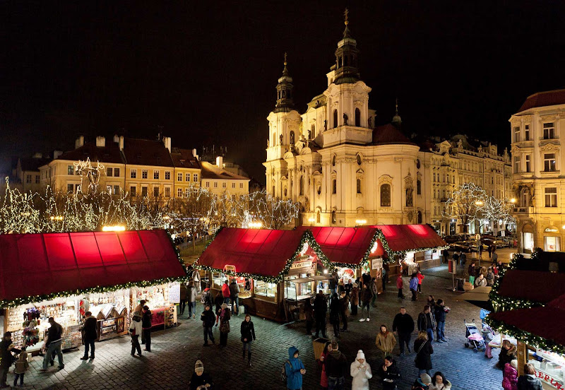 The renowned Christmas Markets of Prague are centered around the Old Town Square and Wenceslas Square.