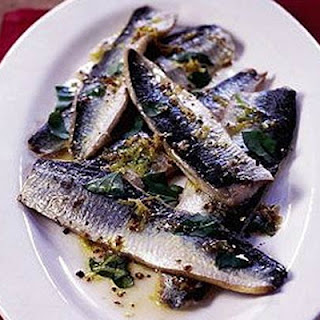 Grilled Herrings With Mustard & Basil Dressing.