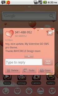My Valentine GO SMS Theme - screenshot thumbnail