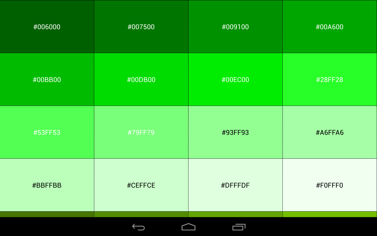 Color green code driverlayer search engine for Show me the color green