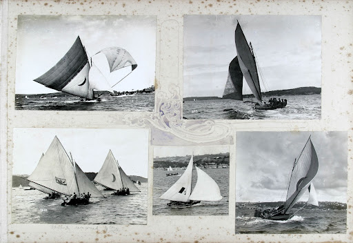 Album containing photographs of sailing skiffs skippered by Rear Admiral Dumaresq RN