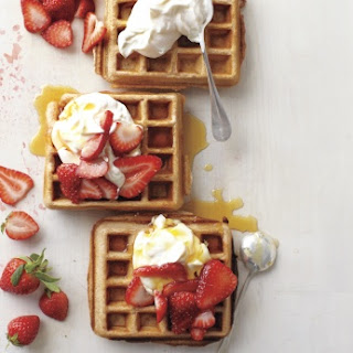 Whole-Grain Waffles with Sliced Strawberries and Yogurt Recipe