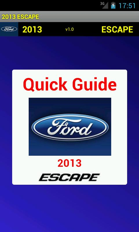 Quick Guide 2013 Ford Escape - screenshot