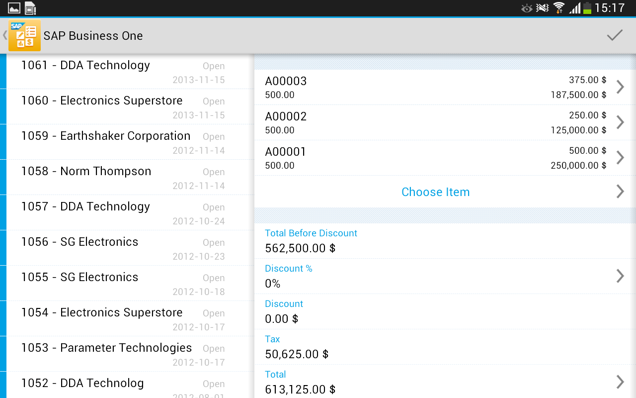 SAP Business One- screenshot