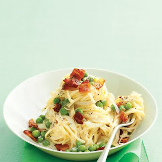 Fresh Angel-Hair Pasta with Bacon and Peas.