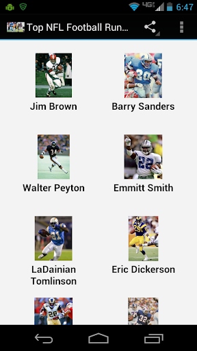 Top NFL Football Running Backs