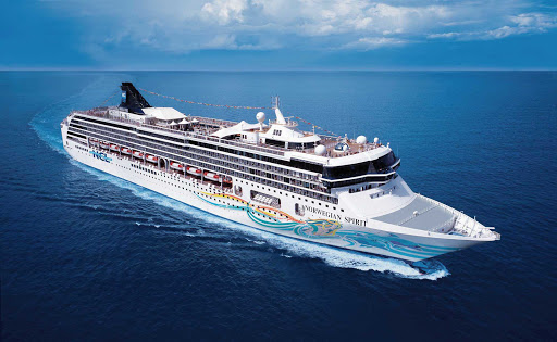 Norwegian-Spirit-Aerial-at-sea-2 - Norwegian Spirit sails to the Caribbean — including Jamaica and Grand Cayman — in winter and to Spain and the Canary Islands in summer.