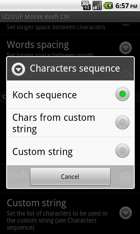 IZ2UUF Morse Koch CW – Screenshot