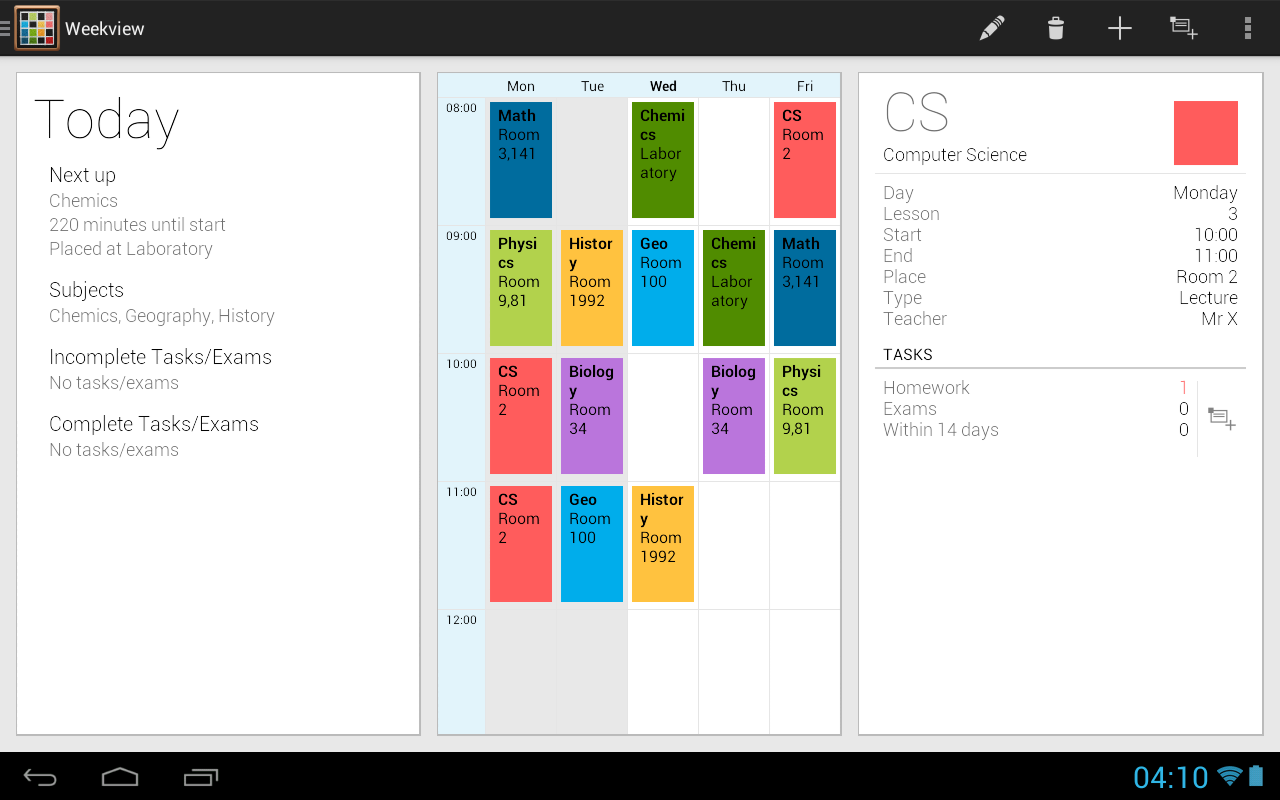 Timetable - screenshot