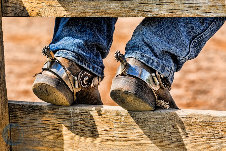 Waiting To Ride by Tom Flynn - People Body Parts ( cowboy, spurs, feet, summer, boots )