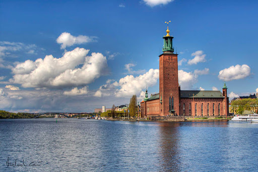 "Stockholm City Hall (""Stadshuset"") in Sweden."