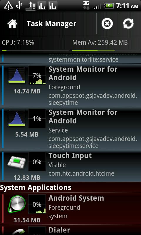 System Monitor Lite 4 Android - screenshot