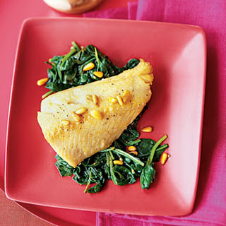 Cod With Pine Nut Brown Butter and Garlicky Spinach.