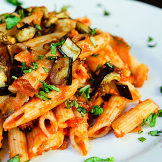 Roasted Eggplant, Caramelized Onions, and Tomato Pasta (vegan, gluten-free option)