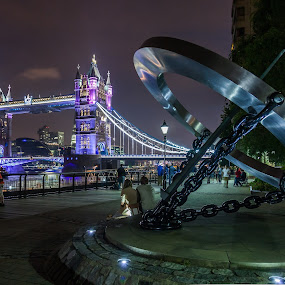 Next to Tower Bridge by Cesare Morganti - City,  Street & Park  Night ( park, night photography, london, lighting, moods, tower bridge, , serenity, blue, mood, factory, charity, autism, light, awareness, bulbs, LIUB, april 2nd )