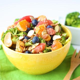 Loaded Broccoli Salad with Creamy Avocado Citrus Dressing.