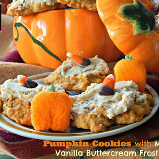 Pumpkin Cookies with Maple-Vanilla Buttercream Frosting.