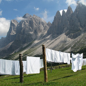 HANGING TO DRY IN FRONT OF ODLE (DOLOMITES) by Riccardo Schiavo - Landscapes Mountains & Hills (  )