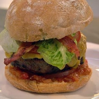 Burger With Bacon, Cheese And Quick Tomato Relish