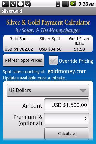 Silver Gold Payment Calculator- screenshot