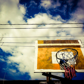 street basketball court by Jun Pinzon - Instagram & Mobile Android ( clouds, basketball, ring, sky, wood, street, play, game, net, board )
