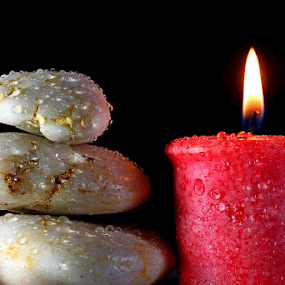 by Dipali S - Artistic Objects Still Life ( water, red, fresh, candles, white, drops, stones, light, candle )