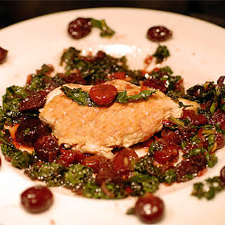 Chicken with Cherries and Kale.