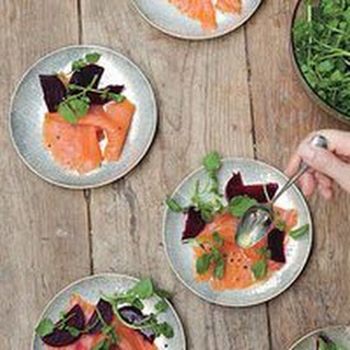 Smoked Salmon with Quick-Pickled Beets.