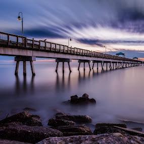 Blue Hour by Givanni Mikel - Buildings & Architecture Bridges & Suspended Structures ( clouds, pier, ocean, sunrise, rocks, , HDR, Landscapes )