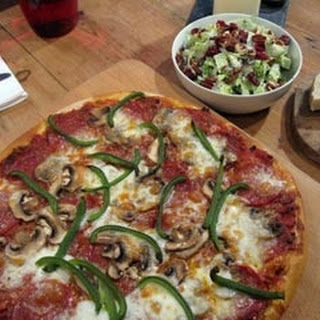 Meat Feast Pizza With Blue Cheese Slaw