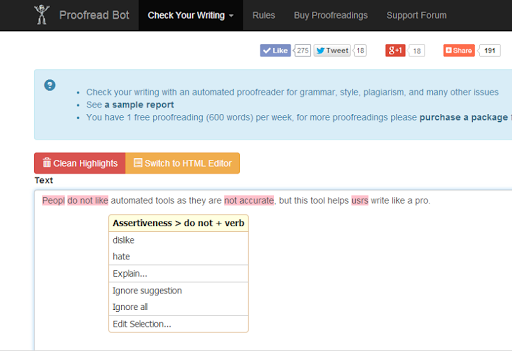 Proofread Bot Grammar Checker